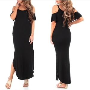 Women's Cold-Shoulder Maxi Dress with Pockets